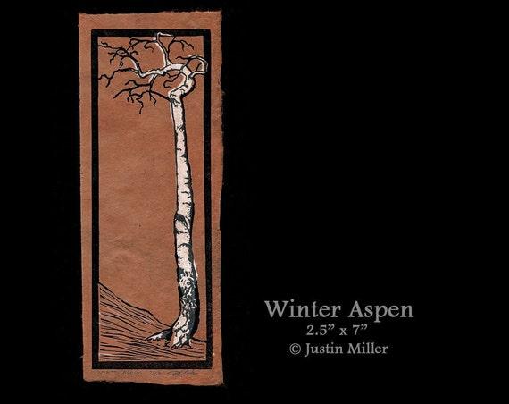 Winter Aspen - 2.5 x 7 Linoleum print