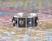 Tiny Sapphire Ring Hand Fabricated Sterling Silver Band Blackened Metal Ball DJStrang