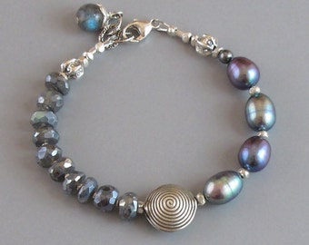 Mystic Labradorite Pearl Bracelet Sterling Silver Peacock Baroque DJStrang Boho Cottage Chic Silvery Blue Color Flash