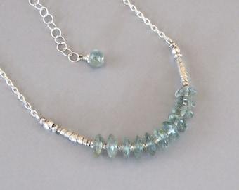 Moss Aquamarine Necklace Sterling Silver Chain Handmade Bead Green German Cut Stone Boho Chic March Birthstone