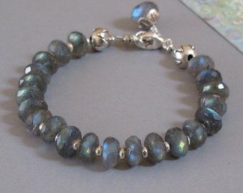 Labradorite Bracelet Sterling Silver Lotus Bead DJStrang Color Flash Boho Cottage Chic Spectrolite Blue Green Grey Gemstone