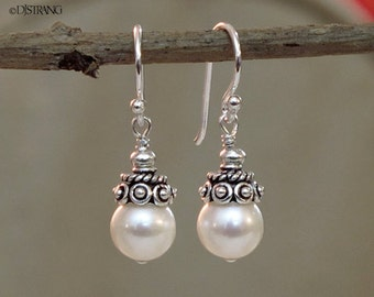 Sterling Silver Crowned White Cultured Pearl Drop Dangle Earrings DJStrang Bridal Boho Cottage Chic