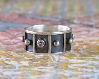 Tiny Sapphire Ring DJStrang Rustic Hand Fabricated Sterling Silver Band Ball Blackened Metal