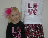 Love Valentines Skirt Set Applique Tshirt and Skirt