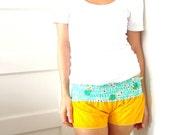 pa'u shorts in yellow corduroy. size small