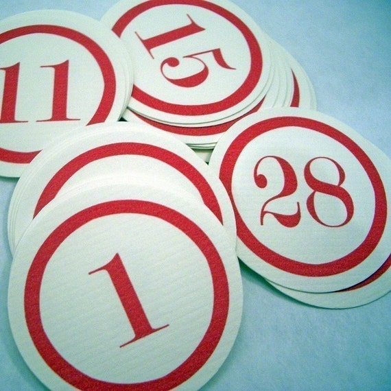 Red Number Tags