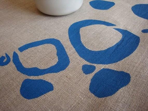 banksia pod blue 100% linen tea towel (hand printed)