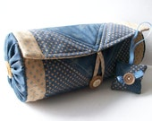 Quilted Patchwork Fabric Case 3 and Little Pincushion in Colonial Blue