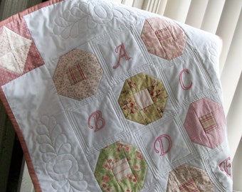 Baby Quilt, Girl, Pink, Not So Shabby Chic, ABCs, letters, patchwork, hand embroidery, nursery home decor, blanket, baby girl, toddler quilt