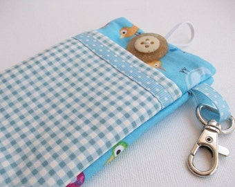 Cell Phone Case in Blue Tweeters and Gingham
