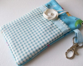 Cell Phone Case, pocket, iphone case, ipod case, Blue Gingham checks, bird motif