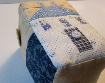 Quilted Pincushion, Blue, Saltbox house and flower motif, sewing organizer