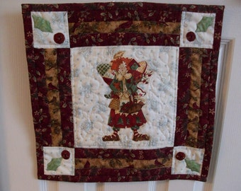 Christmas Little Quilt, Raggety Angel, Holiday Little Quilt, Wallhanging, Table Cover, Quilted, holiday decor, appliqued, patchwork, holiday