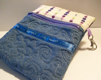 Quilted Denim Zipper Pouch Case, Double Pointed Knitting Needle Case, blue, purple, project bag, swivel hook clip