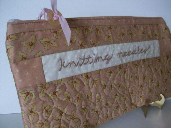 Quilted Knitting Organizer Case, Pink, Hand Embroidery,  Knitting Needle Case, Quilted, Project Bag, FREE SHIPPING