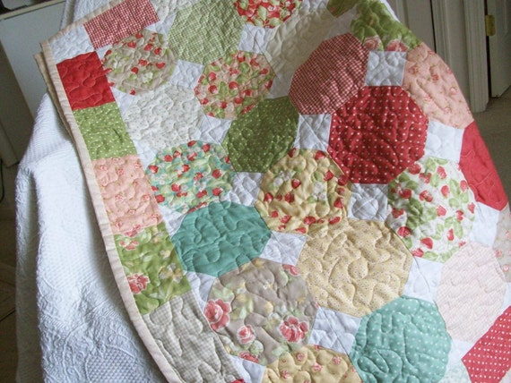 Quilt Snowball Charm Square Patchwork in Moda Strawberry Fields Fabric, Throw Size, Strawberry, Pink, Red, Yellow, Beige, and Turquoise