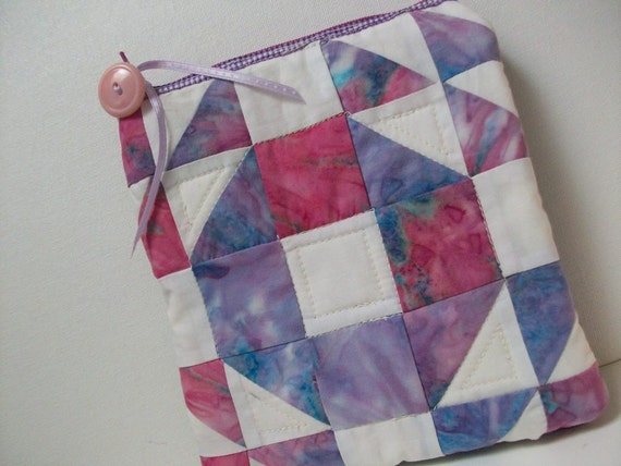 Quilted Little Case with Belt Loops in pink and purple batiks 2