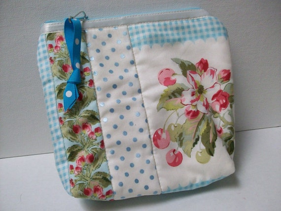 Little Quilted Case, cosmetic bag, makeup bag, iphone case, ipod case, aqua blue pink, cell phone case, small clutch pouch