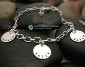 Hand Stamped Jewelry • Personalized Jewelry • Sterling Silver Bracelet • Three Charm Bracelet