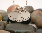 THREE Charms Custom Hand Stamped Sterling Name Necklace