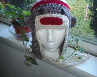 Crochet Sock Monkey Helmet Ear Flap Hat