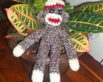 Crochet Sock Monkey  9 inch toy - MADE TO ORDER