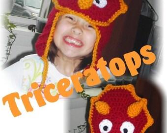 Crochet TRICERATOPS Dinosaur Hat - Custom Color & Size