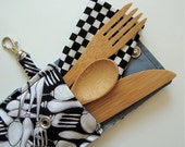 Bamboo Cutlery Set in carrying cozy- the perfect bamboo fork, knife, spoon and napkin set with clip-on carrying case