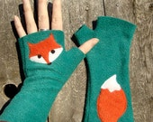 Fingerless Fox Gloves, soft, washable fleece (Last pair of this color combo)