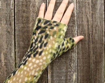 Fingerless gloves, Wrist Warmers, Into The Woods, soft, washable fleece