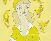 A number of things 8x10 vintage inspired print by Amanda Atkins yellow birds