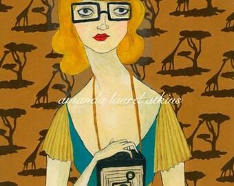 Adapting to You vintage inspired camera wallpaper print by Amanda Atkins