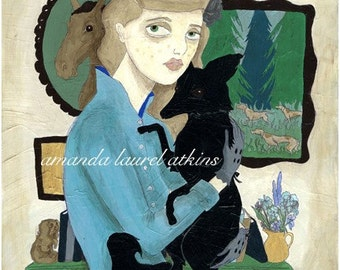 Chelsea and the Black Fox 8x10 vintage inspired print by Amanda Atkins