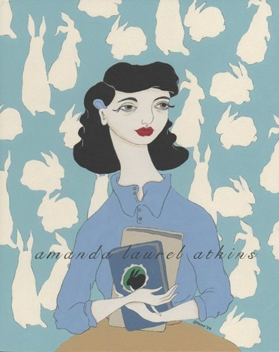 On finding you 8x10 vintage inspired rabbit wallpaper print by Amanda Atkins