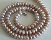 18inch Strand 7-8mm Button Freshwater Pearl Beads Peach Natural Purple b1403