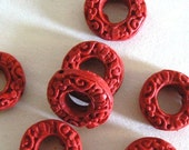 6 Red Cinnabar Beads 17 mm Carved Bead Ring b1726