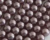 SALE 2 34inch Strands 6mm Pearl Glass Beads Round Purple