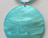 1 HUGE Mother of Pearl 3inch Cross Round Bead Shell Necklace Blue