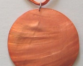 1 HUGE Mother of Pearl 3inch Cross Round Bead Shell Necklace Orange