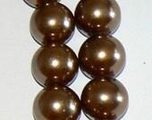 SALE 32inch Strand 12mm Pearl Glass Round Beads Mocha