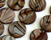 16inch Strand 20mm Mother of Pearl Beads Round Flat Coin Beads Brown Shell 1