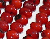 SALE 16inch Strand 7x8mm  Rondelle Natural Bamboo Coral Red Beads Bead