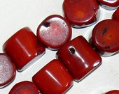 SALE 17inch Strand Natural Bamboo Red Coral Nugget Disc Chunk Beads