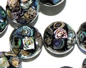 SALE 4 Large 16mm Natural Abalone Shell Bead Ball Round