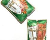 SALE 1 20x30x7mm Handmade Cloisonne Beads Cat Face b2091