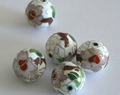 4 16mm Large Handmade Cloisonne Beads Round Bead Floral White
