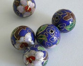 4 16mm Large Handmade Cloisonne Beads Round Bead Floral Royal Blue