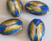 SALE 4 25x16x7mm Handmade Cloisonne Beads Gold Plated Brass Butterfly Roral Blue