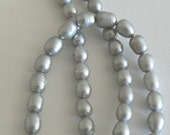 SALE 16inch 7-8mm Necklace Natural Freshwater Pearl Beads Silver Gray b2214