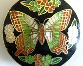 SALE 1 45x11mm Handmade Cloisonne Beads Big Butterfly Bead Coin b2399
